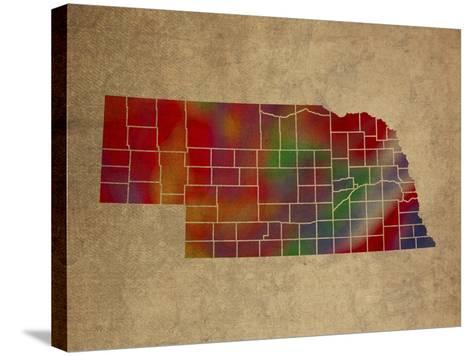 NE Colorful Counties-Red Atlas Designs-Stretched Canvas Print