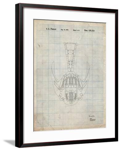 PP39 Antique Grid Parchment-Borders Cole-Framed Art Print