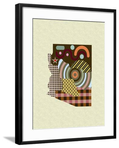 Arizona State Map-Lanre Adefioye-Framed Art Print