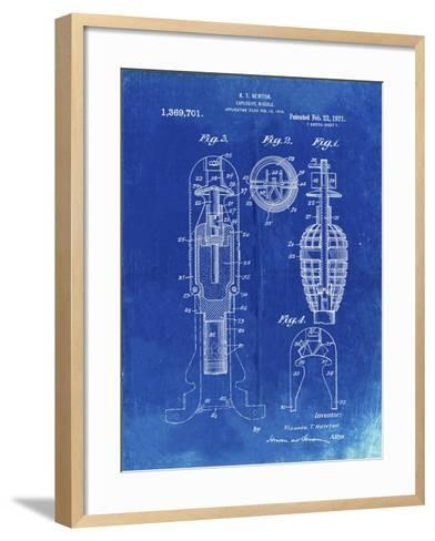 PP12 Faded Blueprint-Borders Cole-Framed Art Print