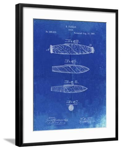 PP43 Faded Blueprint-Borders Cole-Framed Art Print
