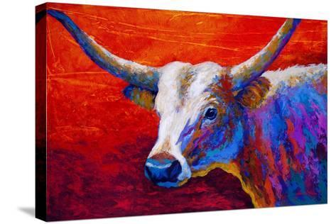 Sunset Ablaze Longhorn-Marion Rose-Stretched Canvas Print