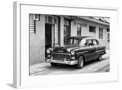 Cuba Fuerte Collection B&W - Old Antique Car in Havana VIII-Philippe Hugonnard-Framed Art Print