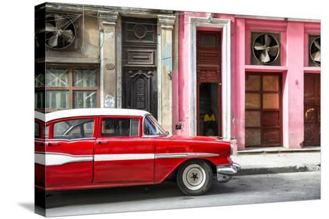 Cuba Fuerte Collection - Old Classic American Red Car-Philippe Hugonnard-Stretched Canvas Print