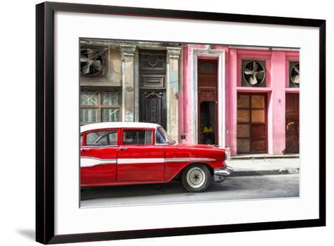 Cuba Fuerte Collection - Old Classic American Red Car-Philippe Hugonnard-Framed Art Print