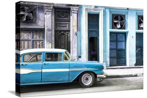 Cuba Fuerte Collection - Old Classic American Blue Car-Philippe Hugonnard-Stretched Canvas Print