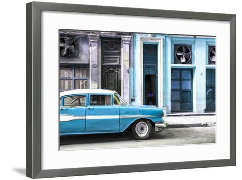 Cuba Fuerte Collection - Old Classic American Blue Car-Philippe Hugonnard-Framed Art Print