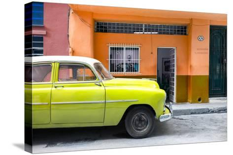 Cuba Fuerte Collection - Vintage Lime Green Car of Havana-Philippe Hugonnard-Stretched Canvas Print