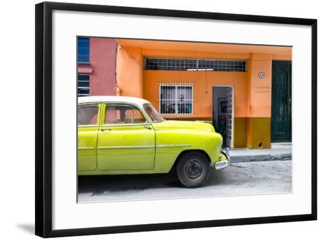 Cuba Fuerte Collection - Vintage Lime Green Car of Havana-Philippe Hugonnard-Framed Art Print