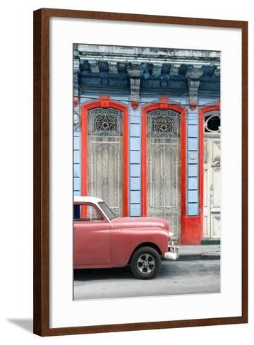 Cuba Fuerte Collection - Coral Vintage Car in Havana II-Philippe Hugonnard-Framed Art Print
