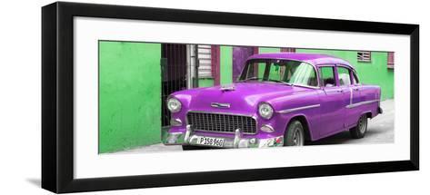 Cuba Fuerte Collection Panoramic - Beautiful Classic American Purple Car-Philippe Hugonnard-Framed Art Print