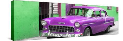 Cuba Fuerte Collection Panoramic - Beautiful Classic American Purple Car-Philippe Hugonnard-Stretched Canvas Print