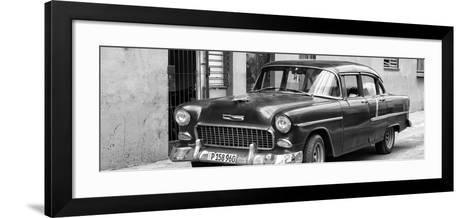 Cuba Fuerte Collection Panoramic BW - Beautiful Classic American Car II-Philippe Hugonnard-Framed Art Print