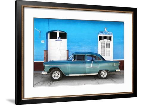 Cuba Fuerte Collection - Old Blue Car-Philippe Hugonnard-Framed Art Print