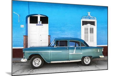 Cuba Fuerte Collection - Old Blue Car-Philippe Hugonnard-Mounted Photographic Print