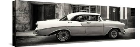 Cuba Fuerte Collection Panoramic BW - Vintage American Car-Philippe Hugonnard-Stretched Canvas Print