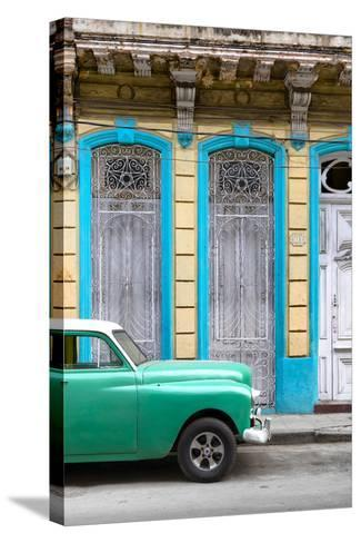 Cuba Fuerte Collection - Green Vintage Car in Havana II-Philippe Hugonnard-Stretched Canvas Print