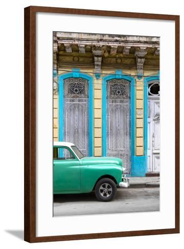 Cuba Fuerte Collection - Green Vintage Car in Havana II-Philippe Hugonnard-Framed Art Print
