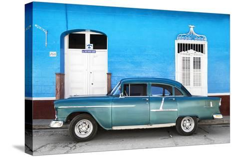 Cuba Fuerte Collection - Old Blue Car-Philippe Hugonnard-Stretched Canvas Print