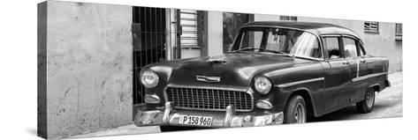 Cuba Fuerte Collection Panoramic BW - Beautiful Classic American Car II-Philippe Hugonnard-Stretched Canvas Print