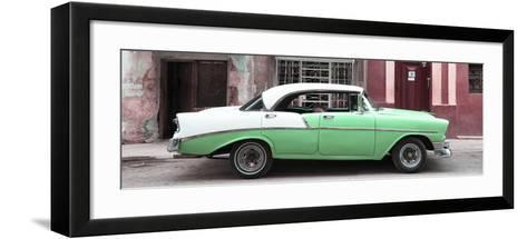 Cuba Fuerte Collection Panoramic - Green Vintage American Car-Philippe Hugonnard-Framed Art Print