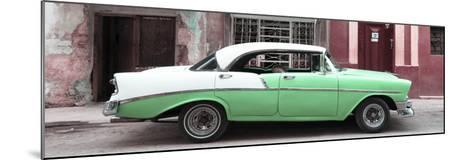 Cuba Fuerte Collection Panoramic - Green Vintage American Car-Philippe Hugonnard-Mounted Photographic Print
