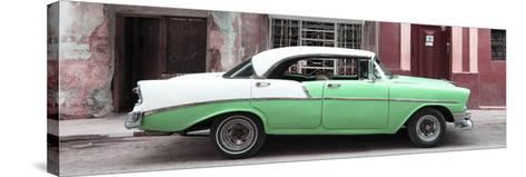 Cuba Fuerte Collection Panoramic - Green Vintage American Car-Philippe Hugonnard-Stretched Canvas Print