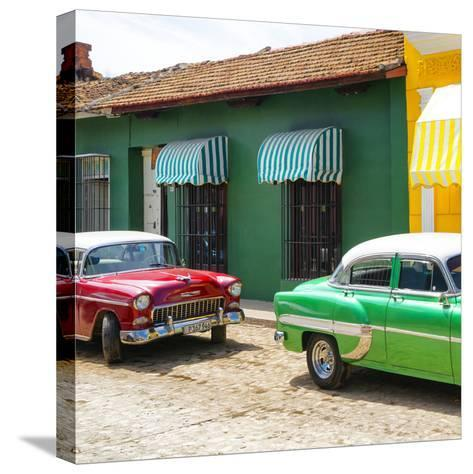 Cuba Fuerte Collection SQ - Cuban Green and Red Taxis-Philippe Hugonnard-Stretched Canvas Print