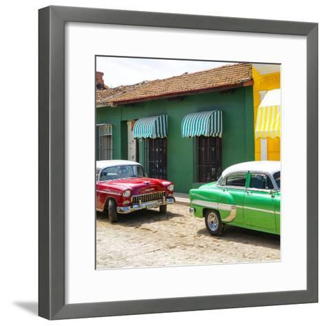 Cuba Fuerte Collection SQ - Cuban Green and Red Taxis-Philippe Hugonnard-Framed Art Print