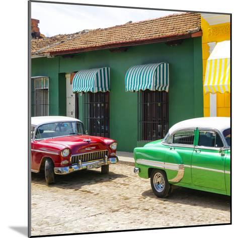Cuba Fuerte Collection SQ - Cuban Green and Red Taxis-Philippe Hugonnard-Mounted Photographic Print