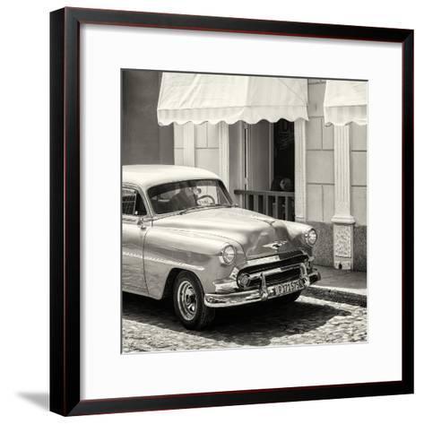 Cuba Fuerte Collection SQ BW - Close-up of Cuban Taxi Trinidad-Philippe Hugonnard-Framed Art Print