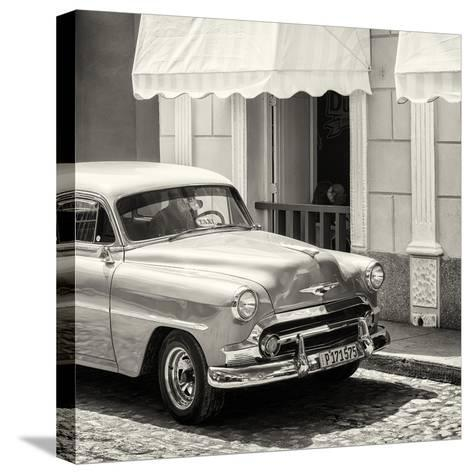 Cuba Fuerte Collection SQ BW - Close-up of Cuban Taxi Trinidad-Philippe Hugonnard-Stretched Canvas Print