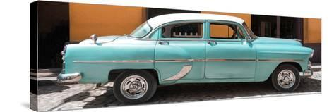 Cuba Fuerte Collection Panoramic - Retro Turquoise Car-Philippe Hugonnard-Stretched Canvas Print
