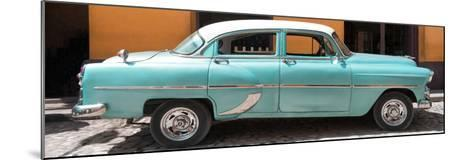 Cuba Fuerte Collection Panoramic - Retro Turquoise Car-Philippe Hugonnard-Mounted Photographic Print