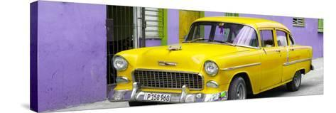 Cuba Fuerte Collection Panoramic - Beautiful Classic American Yellow Car-Philippe Hugonnard-Stretched Canvas Print