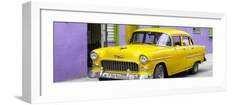 Cuba Fuerte Collection Panoramic - Beautiful Classic American Yellow Car-Philippe Hugonnard-Framed Art Print