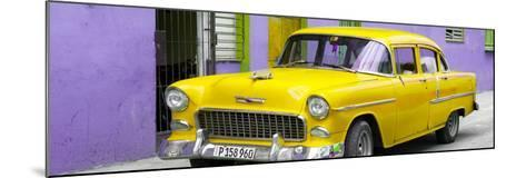 Cuba Fuerte Collection Panoramic - Beautiful Classic American Yellow Car-Philippe Hugonnard-Mounted Photographic Print