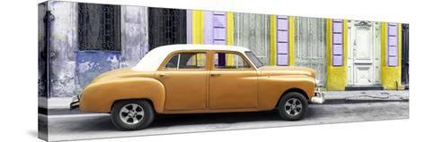 Cuba Fuerte Collection Panoramic - Orange Vintage Car in Havana-Philippe Hugonnard-Stretched Canvas Print