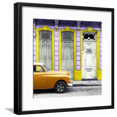 Cuba Fuerte Collection SQ - Orange Vintage Car in Havana II-Philippe Hugonnard-Framed Art Print