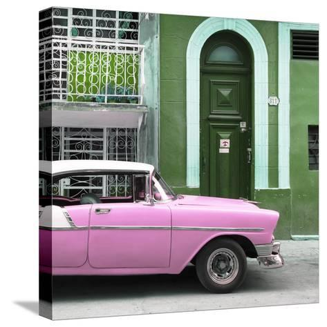 Cuba Fuerte Collection SQ - Pink Classic Car in Havana-Philippe Hugonnard-Stretched Canvas Print
