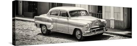 Cuba Fuerte Collection Panoramic BW - Cuban Taxi-Philippe Hugonnard-Stretched Canvas Print