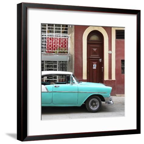 Cuba Fuerte Collection SQ - Turquoise Classic Car in Havana-Philippe Hugonnard-Framed Art Print