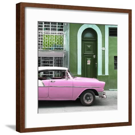 Cuba Fuerte Collection SQ - Pink Classic Car in Havana-Philippe Hugonnard-Framed Art Print