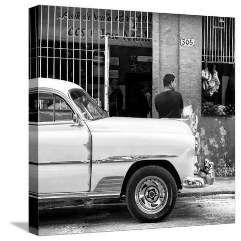 Cuba Fuerte Collection SQ BW - 305 Street Green Market-Philippe Hugonnard-Stretched Canvas Print