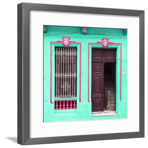 Cuba Fuerte Collection SQ - Havana Turquoise Façade-Philippe Hugonnard-Framed Art Print
