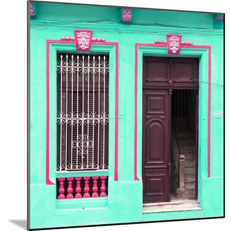 Cuba Fuerte Collection SQ - Havana Turquoise Façade-Philippe Hugonnard-Mounted Photographic Print