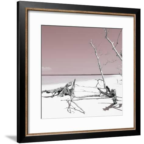 Cuba Fuerte Collection SQ - Wild White Sand Beach - Pastel Red-Philippe Hugonnard-Framed Art Print