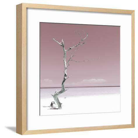 Cuba Fuerte Collection SQ - Alone on the White Sandy Beach - Pastel Red-Philippe Hugonnard-Framed Art Print