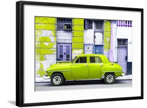 Cuba Fuerte Collection - Lime Green Classic American Car-Philippe Hugonnard-Framed Art Print