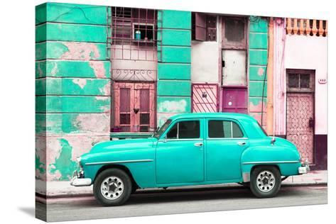 Cuba Fuerte Collection - Turquoise Classic American Car-Philippe Hugonnard-Stretched Canvas Print
